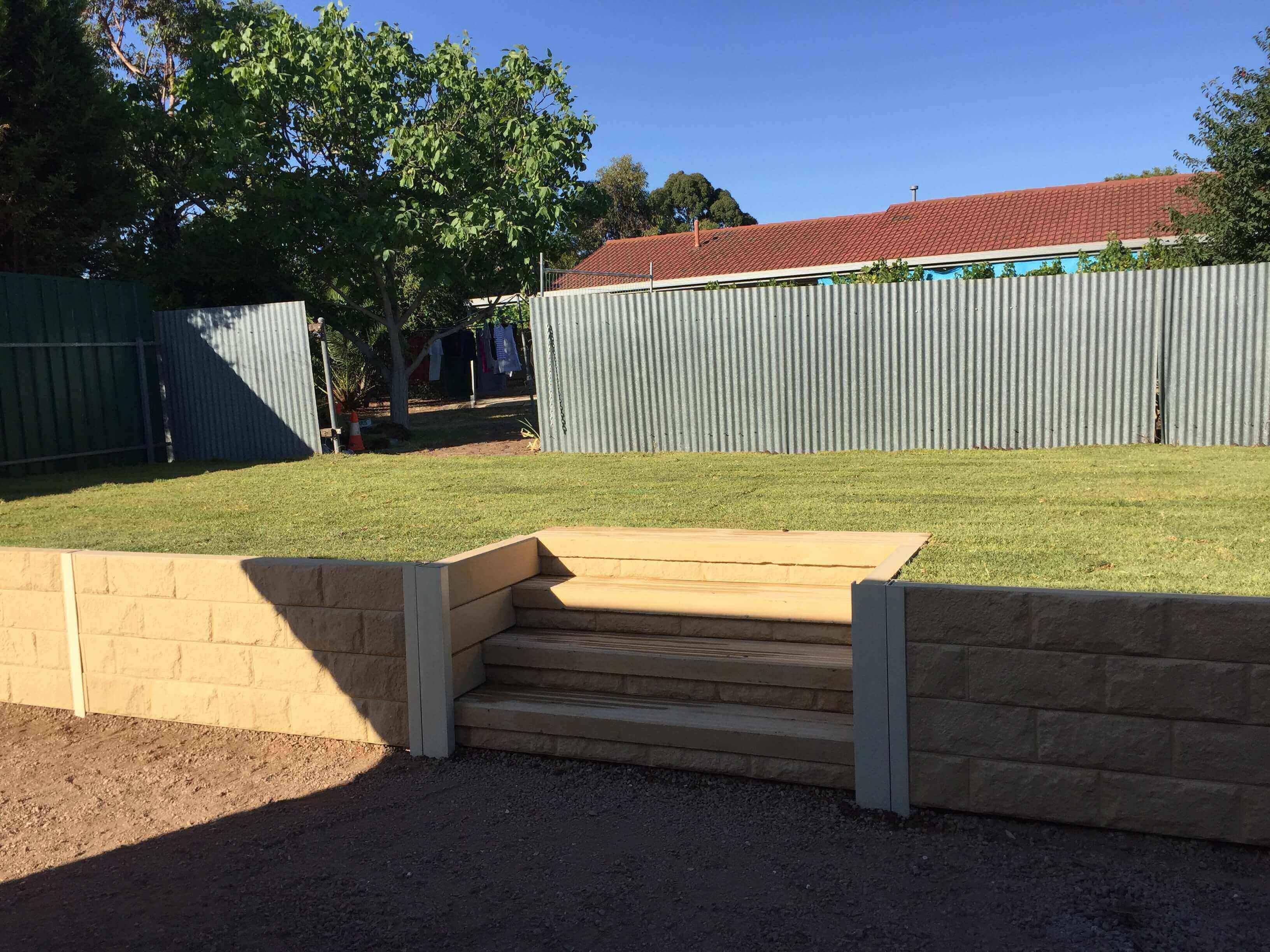 Craigmore - Retaining wall in backyard