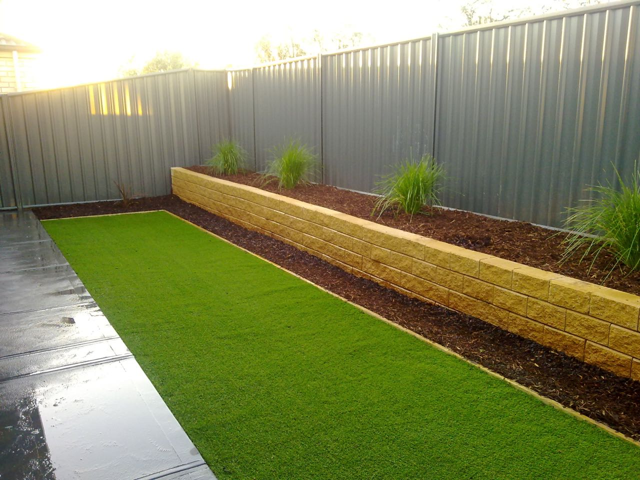 Andrews Farm - Retaining Wall With Garden Bed For Plants
