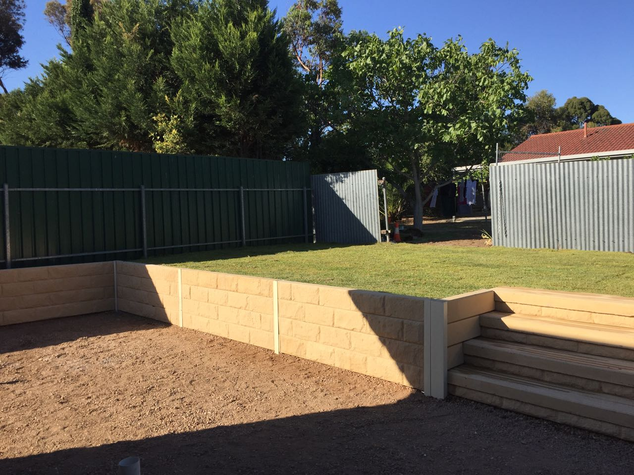 Modbury Heights - Retaining Wall Added As A Backyard Feature