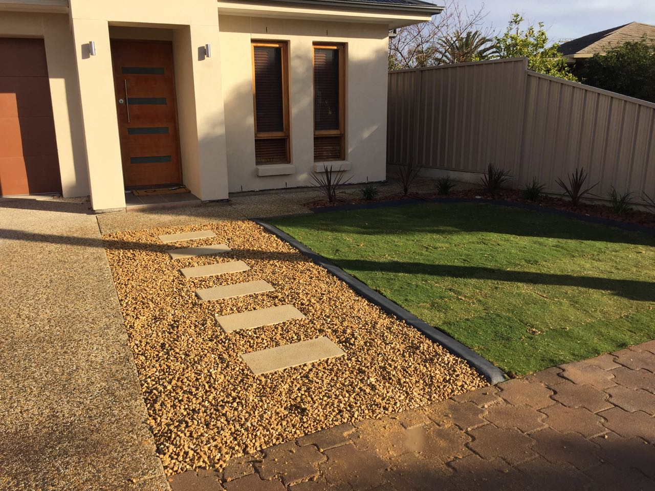 North Gate - Concrete Tiled Pathway Adding To Front Lawn's Charm
