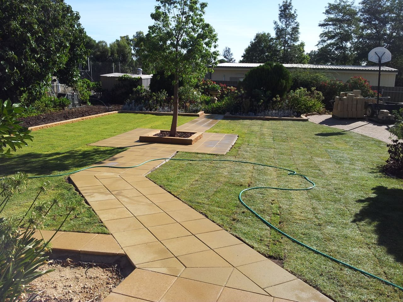 Gawler East - Paved Pathway In Lush Green Lawn