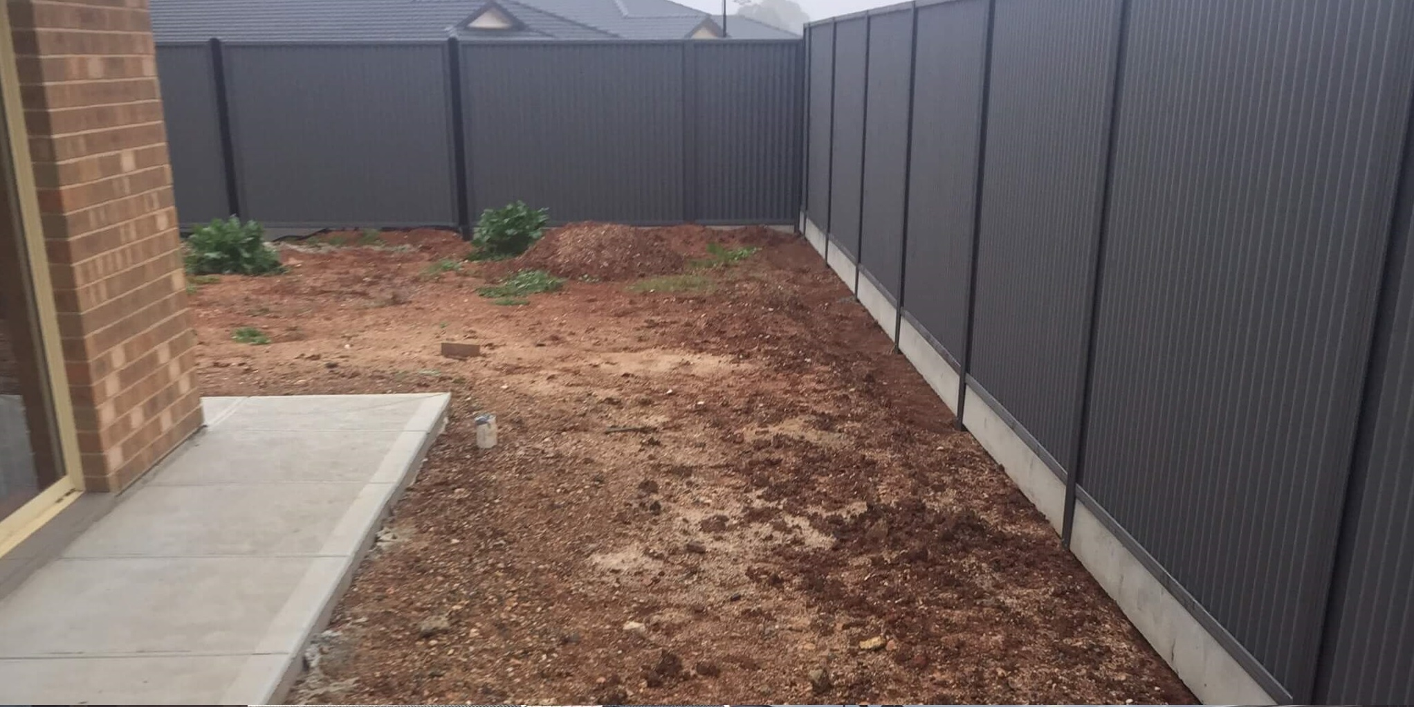 Salisbury - Getting the ground ready for a paved backyard interspersed with a grassed area